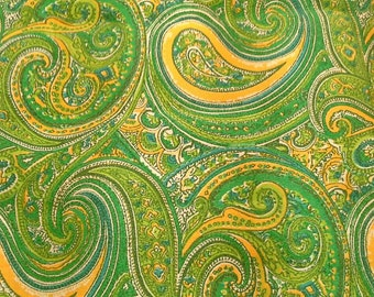 Green and Yellow Paisley Print 2 1/2 Yards Polyester Fabric X0613