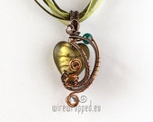 OOAK Brown and green wire wrapped pendant