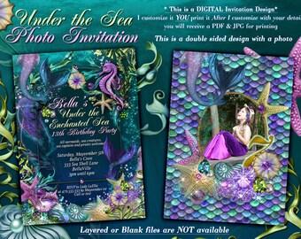 Photo Mermaid Invitation, Mermaid Invitations, Under the Sea Invitations, Enchanted Seas