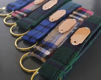 Personalized Mad For Plaid Key Fob / Custom Key Chain / Monogrammed Wristlet Strap / Stocking Stuffer Gift Idea