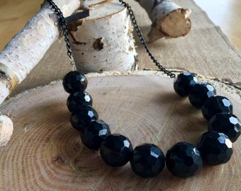 Black acrylic beads with aluminum chain necklace