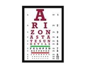 Eye Chart - Arizona - Arizona State University - ASU - Art Print - Wall Art-  Poster - Sun Devils