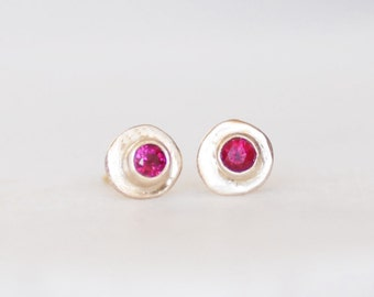 Ruby Post Earrings - Gold and Ruby Skipping Stone Earrings - Gold Stud Earrings