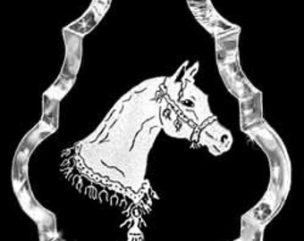 Arabian Horse Head-n-costume Gift, Crystal Necklace Pendant Jewelry or Suncatcher Custom made with any Animal or Name YOU Want, Rodeo, Ranch