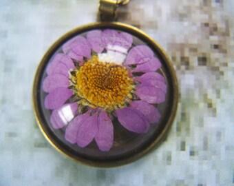 Real Flower Pendant Purple
