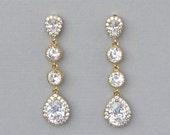 Long Gold Teardrop Crystal Earrings, Crystal Bridal Earrings, Bridal Jewelry, Clip on option, Bridesmaids Earrings, TAMARA G 2