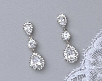 Crystal Bridal Earrings, Crystal Teardrop Wedding Earrings, Bridal Jewelry, Wedding Jewelry, Bridesmaids gift earrings  CHARLIE