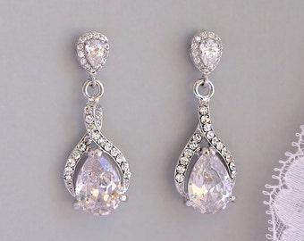 Teardrop Crystal Earrings, Crystal Bridal Drop Earrings, Crystal Wedding Earrings, Bridal Jewelry, RIBBON