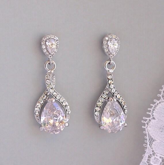 Teardrop Crystal Earrings, Crystal Bridal Drop Earrings, Crystal Wedding Earrings, Bridal Jewelry, RIBBON