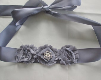 Silver gray Wedding party sash. Bridesmaids sash, Flower girl sash. Bridal sash. Chiffon fabric flower sash