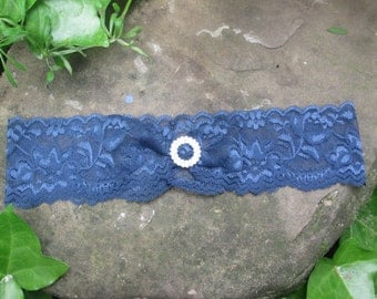 Navy lace garter, simple lace wedding garter, someting blue garter , rhinesone lace bridal garter