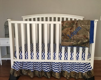 CHEVRON & HUNTING CAMO with minky dot blanket 3pc Crib or Toddler baby bedding set bumperless with realtree Fabric free monogram
