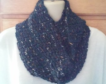 Crocheted Infinity Scarf - Navy Blue, White, Rust and Black