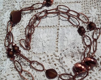 Copper Chain and Brown Beads Lanyard
