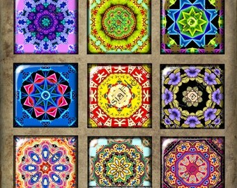Printable  Digital Collage Sheet 1 Inch Circle Squares Kaleidoscopes Mandalas Instant Download Various Colors  CS 98