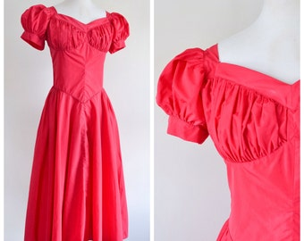 1940s full length sweetheart neckline party dress / 40s ruched bust evening dress - S