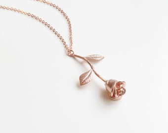 Delicate Rose Necklace | Simple Rose Necklace | Dainty Rose Necklace | Beauty and the Beast | Gift for Her | Valentines Day Gift