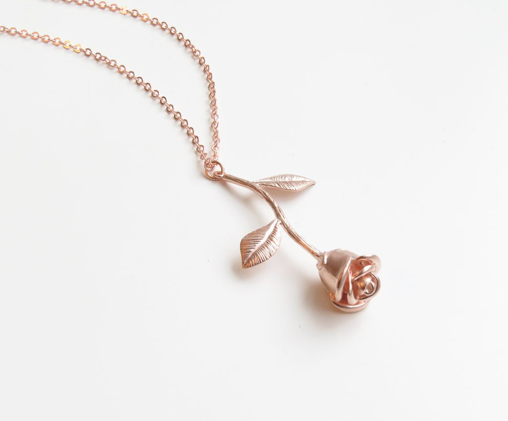 Rose Pendant Necklace Rose Gold Necklace Flower Necklace