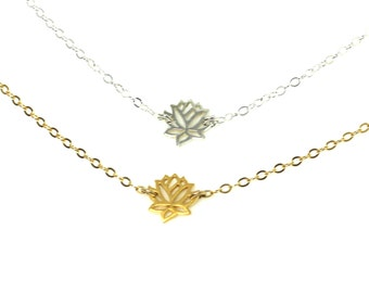 TIny Delicate Lotus Necklace - Dainty Lotus Flower Necklace Gold Fill or Sterling Silver - Perfect Layering Necklace, Bridesmaids, Bridal