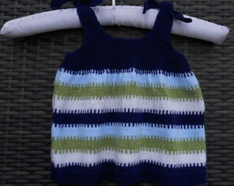 Pinafore dress/tunic top/sun dress, hand knitted blue mix stripes using a wool mix yarn, for a baby girl 6 -12 months, 20 in chest