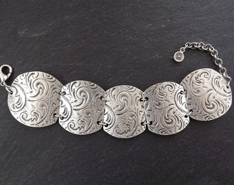 Baroque Floral Pattern Inspired Ethnic Statement Bracelet - Authentic Turkish Style
