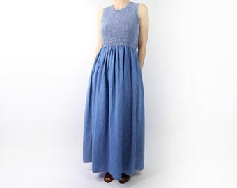 VINTAGE 1990s Denim Maxi Dress Sleeveless Long