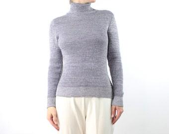 VINTAGE Silver Turtleneck Knit Sweater