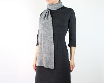 VINTAGE Grey Scarf 1980s Ribbed Knit Sweater