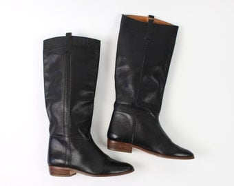 VINTAGE Black Leather Boots Tall Size 5.5