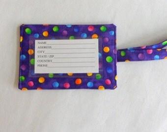 ID Tag Fabric Purple Luggage Tag Cotton Tag ID Tags for Baggage ID Tags for Bags Gift Card Holder