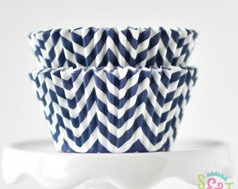 Chevron Navy GREASEPROOF Cupcake Liners BakeBright Baking Cups | ~30 count