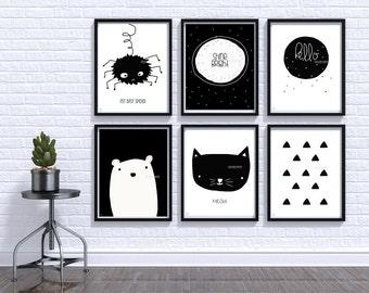 Black and White baby print, Nursery wall art, Baby room Decor, Children Art, Modern, Nordic, Scandinavian Monochrome Nursery Baby Wall Art