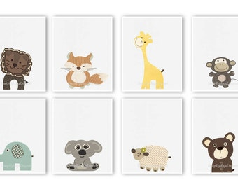 Baby nursery art Nursery art decor Close-up portraits Set of Prints Brown Tan Cream Navy Safari animals Giraffe Monkey Fox Bear Elephant