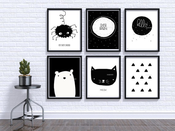 Black And White Nursery Wall Decor : Black and white baby print nursery wall art room decor