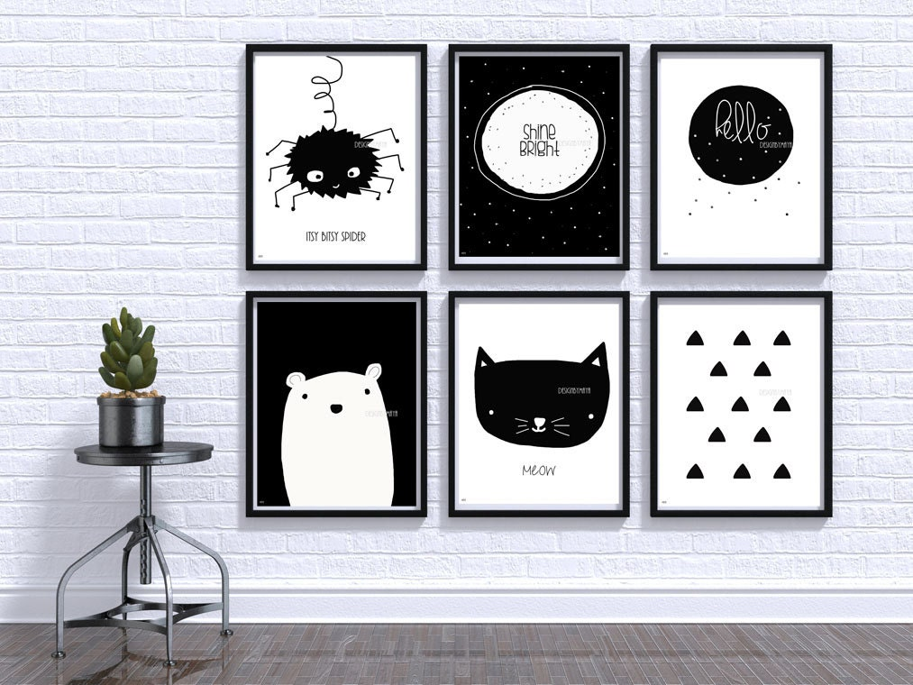 Black and white baby print nursery wall art baby room decor for Black and white wall art