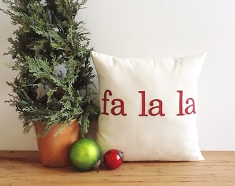 "fa la la Christmas throw pillow cover deck the halls red 16"" x 16""  natural farmhouse cabin style rustic holiday decor"