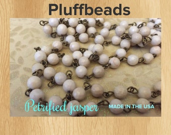 Earthy petrified Jasper faceted stonesBeaded chain handmade in the USA 6mm beads 1 foot
