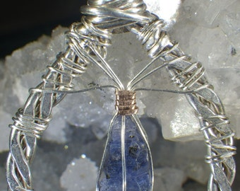 Sapphire Crystal Hammered Hoop Pendant