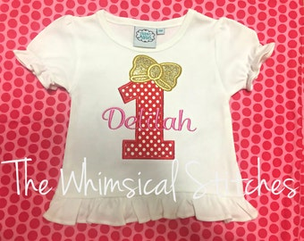 Girls First Birthday Shirt - Girls 1st Birthday Shirt - Girls Bow Shirt - Girls Personalized Birthday Shirt -Apple of my Eye Birthday