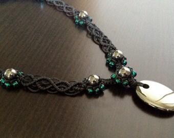 Hematite Gemstone Handwoven Necklace ~ waxed twine gemstone jewellery