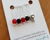 Queen of Hearts stitch marker set