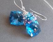 """VALENTINES DAY SALE Swiss Blue Topaz Fancy Cut Gemstone Cluster Earrings Tanzanite Blue Quartz Purple Amethyst Sterling Silver """"Cool Blues"""""""