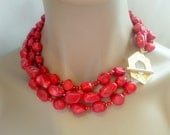 Multistrand Red Coral Statement Necklace with Oversized Decorative Clasp Choker Necklace Organic Coral Gemstone Necklace