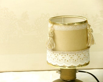 Table lamp, Drum lamp shade, Velvet fabric embellished decor from cream and white, Desk lamp, Bedside lamp, Country home decor.