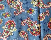 Vintage 40s Paisley Print on Blue Cotton Rare Fabric Quilting etc 36 by 60 inches Unused