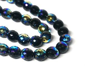 12mm Czech glass beads, faceted round, Black Jet Aurora Borealis, Full & Half strands available  (1182G)