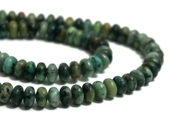 African Turquoise Jasper Beads, 8mm x 5mm rondelle, natural gemstone, Full & Half strands available  (1228S)