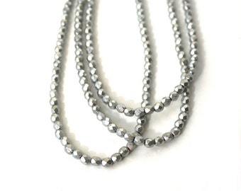 Czech glass beads, metallic silver 4mm faceted round, satin finish, full strand (681G)