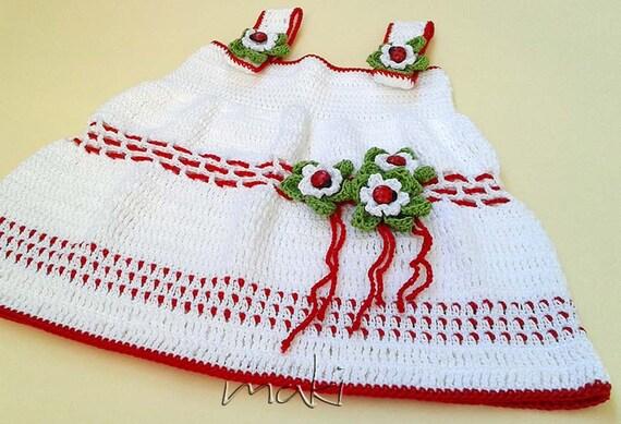 Pattern crochet baby dress pattern daisy christmas or ladybug baby