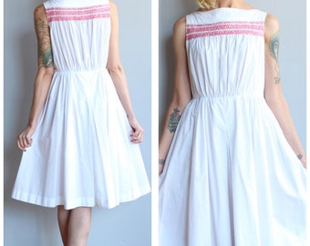 1950s Dress // White & Red Smocked Dress // vintage 50s dress